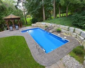 Inground pool with gazebo nearby