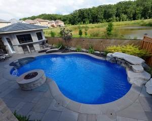 Inground pool with bar