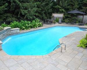 Backyard pool with gazebo