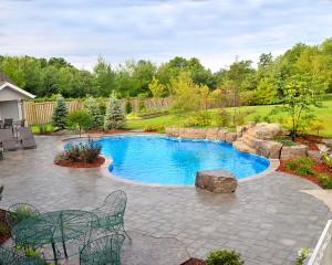 Inground pool in large backyard